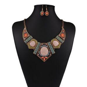 conjunto-bisuteria-bohemio-Boho-Choker-Necklace-Earrings-Crystal-Jewelry-Set