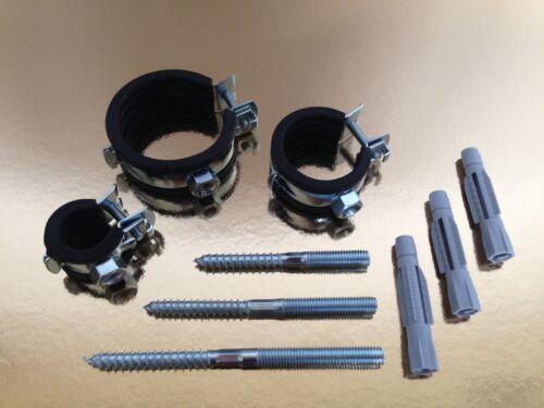 Gelenkrohrschellen - Rohrschelle + Stockschrauben + Dübel