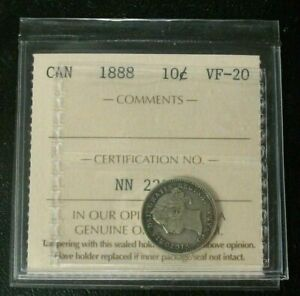 OLD-CANADIAN-COINS-1888-CANADA-SILVER-10-CENTS-NICE-DETAILS