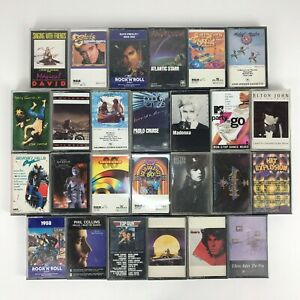 80-039-s-90-039-s-Rock-Pop-26-Cassette-Tape-Lot-Madonna-Elton-John-Phil-Collins-Doors