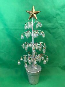 Silver Christmas Tree With Clear Glass Miniature Ornaments Folk Art