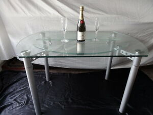 1-Quality-Art-Deco-Style-Round-Glass-Chrome-Metal-Extending-Dining-Table-Seats-4