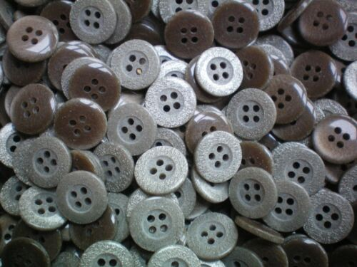Small 12mm 20L Light Brown Beige Grey Shimmer 4 Hole Craft Shirt Buttons K96