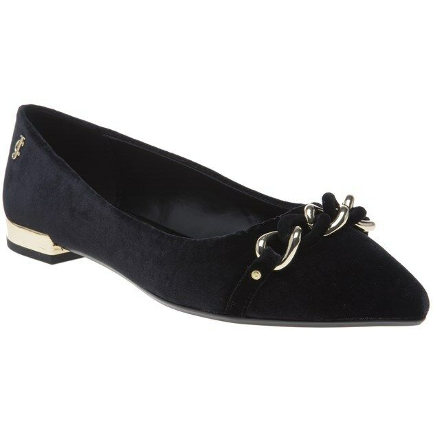 New WOMENS JUICY COUTURE BLACK BECKY VELVET SHOES BALLERINA