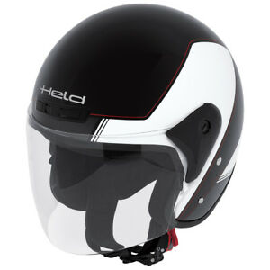 HELD-Heros-Jethelm-Touren-Helm-schwarz-weiss-Gr-M-57-58-Rollerhelm-mit-Visier