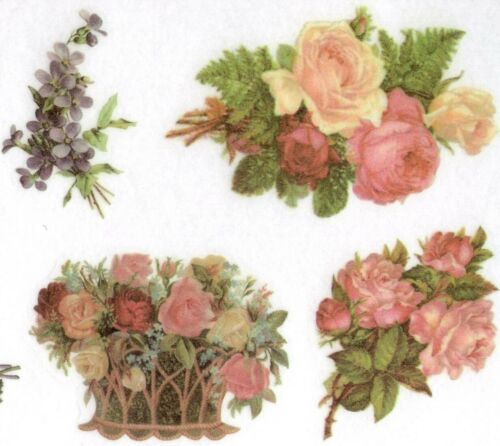 Elegant Flower Stickers 3 Sheets -- All Different