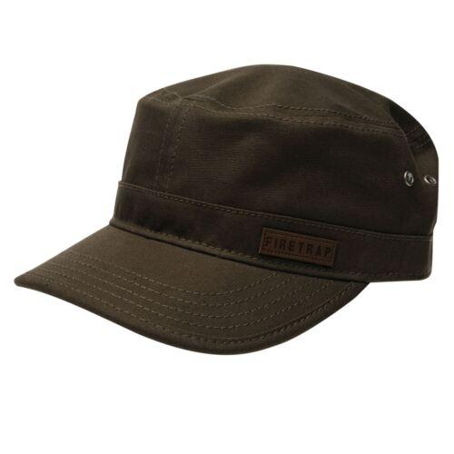 new Firetrap Mens Army Hat Arched Curved Peak Headwear