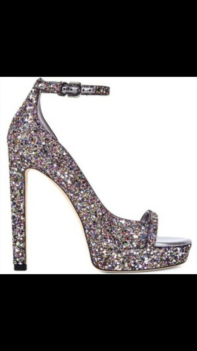 Jimmy Choo Choo Choo Lolly 130 Amazing Multi Paillettes Chaussures taille 41 2 porté une fois avec boite d64805