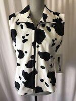 Women's Medium Cow Print Panhandle Slim Fleece White Black Western Wear