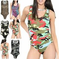 Ladies Army Print Muscle Racer Back Sleeveless Bodysuit Stretch Leotard Vest Top