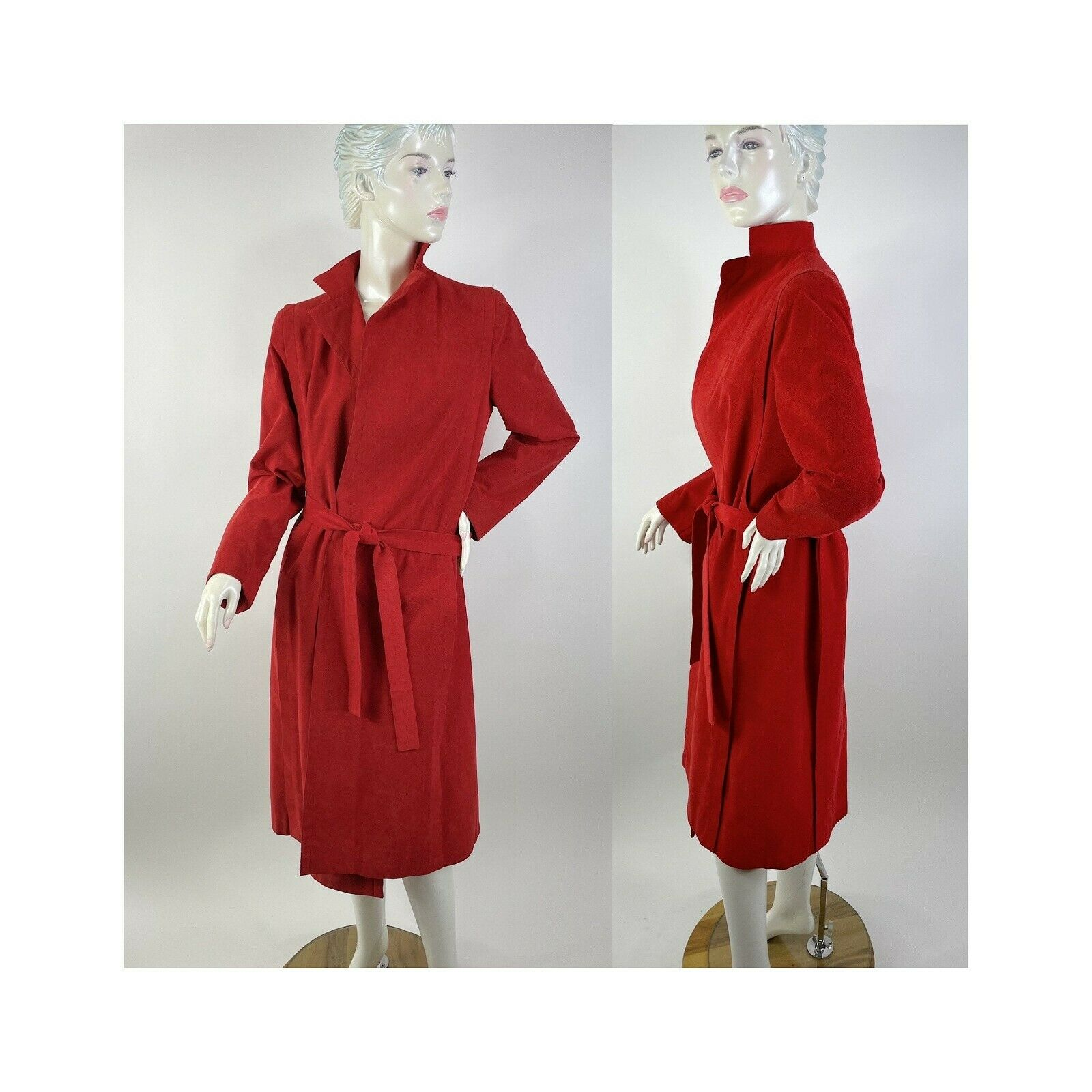 1980s Pauline Trigere red suede wrap coat and Abe… - image 2