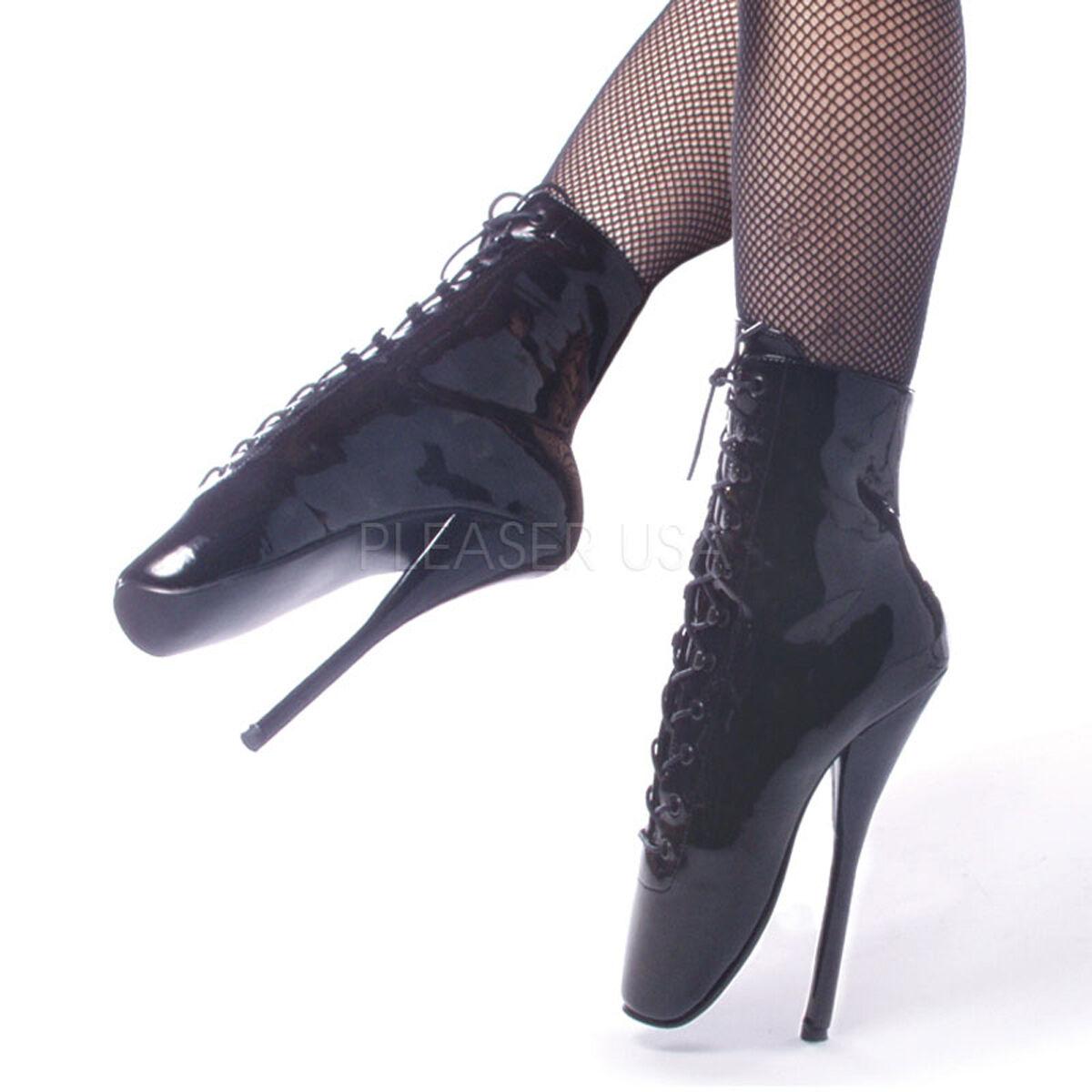 BAL1020 B Sexy exótico exótico exótico Extreme 7  Tacón Alto botas al Tobillo Ballet Negro  nuevo sádico