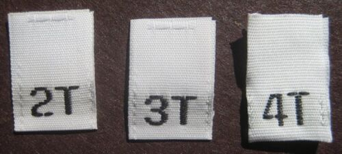 SIZE TAGS 250 PCS WHITE WOVEN FOLDED SEWING CLOTHING LABELS 2T 3T 4T