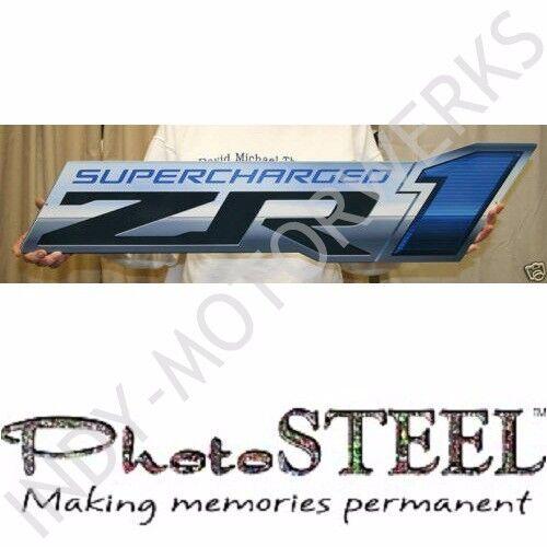 "CORVETTE C6 ZR1 09-13 SUPERCHARGED METAL EMBLEM FULL 34"" X 8.5"" IN SIZE WALL ART"