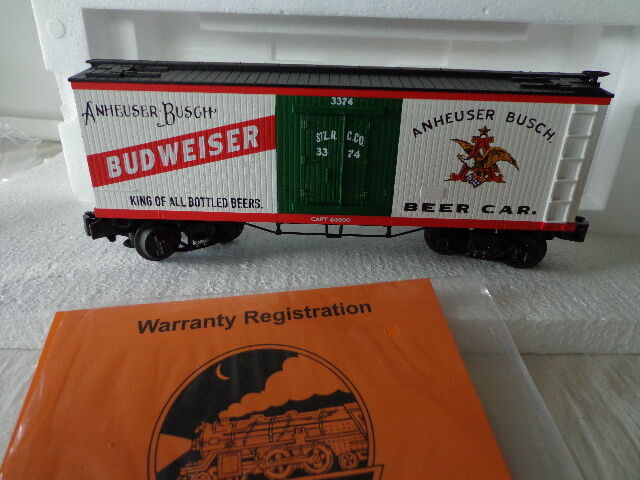 RAIL KING BY MTH O GAUGE ANHEUSER BUSCH WOODSIDED REEFER