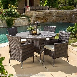 5 piece outdoor patio furniture multi brown wicker round dining set ebay. Black Bedroom Furniture Sets. Home Design Ideas