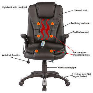Image Is Loading Office Mage Chair Heated Vibrating Executive Ergonomic With