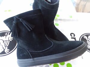 9672d612f6d76 CROCS LODGEPOINT SUEDE PULL ON CROCBAND WINTER HIGH SNOW BOOT~Black ...