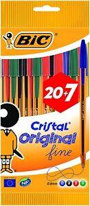 BIC-Cristal-Original-Stylos-Bille-Pointe-Fine-0-8-mm-Couleurs-Assorties-20-7