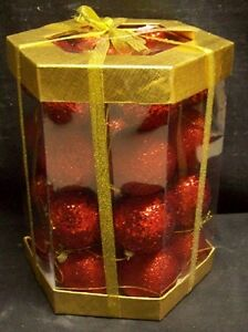 28-PIECE-GLITERBALL-SHATTERPROOF-BALL-CHRISTMAS-ORNAMENT-SET-RED