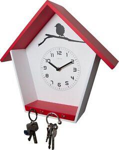 Cuckey-Reloj-de-Pared-con-Llavero-Haus-Form-Madera-en-Rojo-amp-Blanco