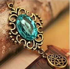 Retro Antique Bronze Lake Blue Stone Droplet Pendant Necklace Long Sweater Chain