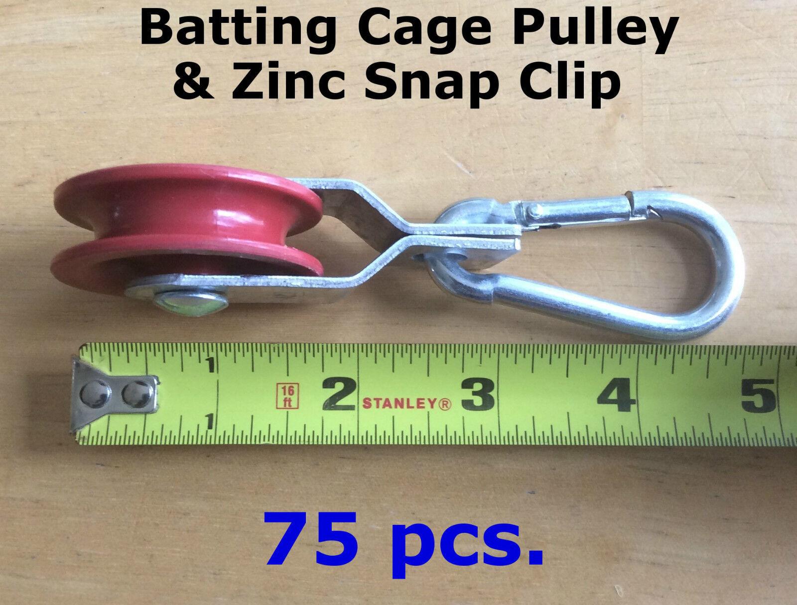 75 pcs Pulleys & 75 pcs Zinc Carabiner Snap Clips Netting Baseball Batting Cage