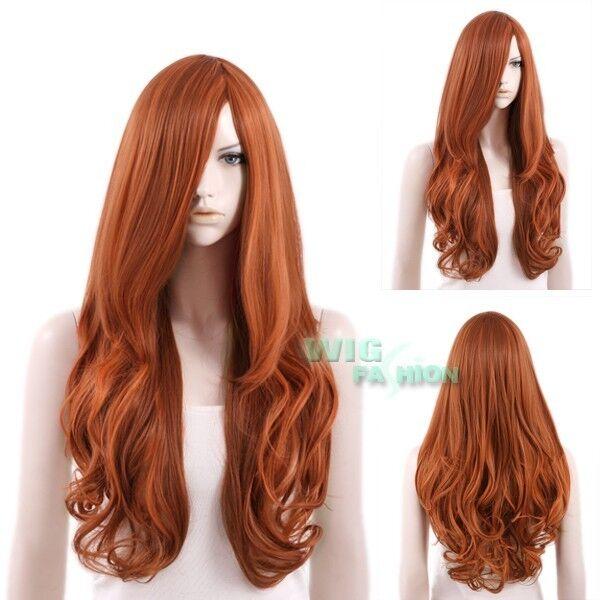 "27"" Heat Resistant Long Curly Auburn Brown Fashion Hair Wig"