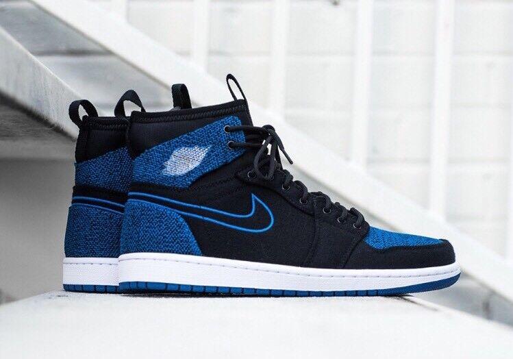 Cheap women's shoes women's shoes Nike Air Jordan 1 Ultra High Retro Black Sport Royal Blue 13 Flyknit 844700-007