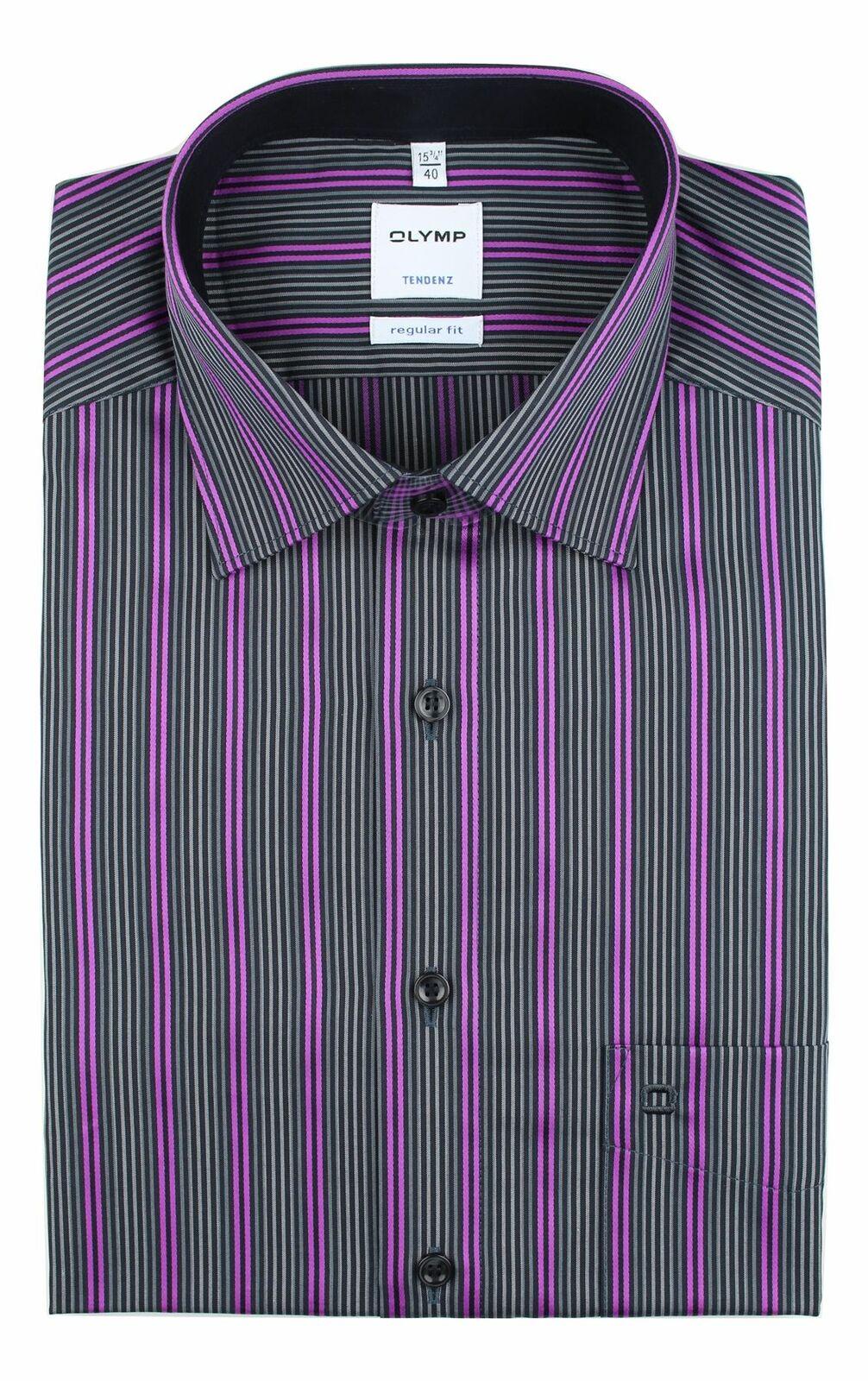Cerise Mix Bold Stripe Spread Collar