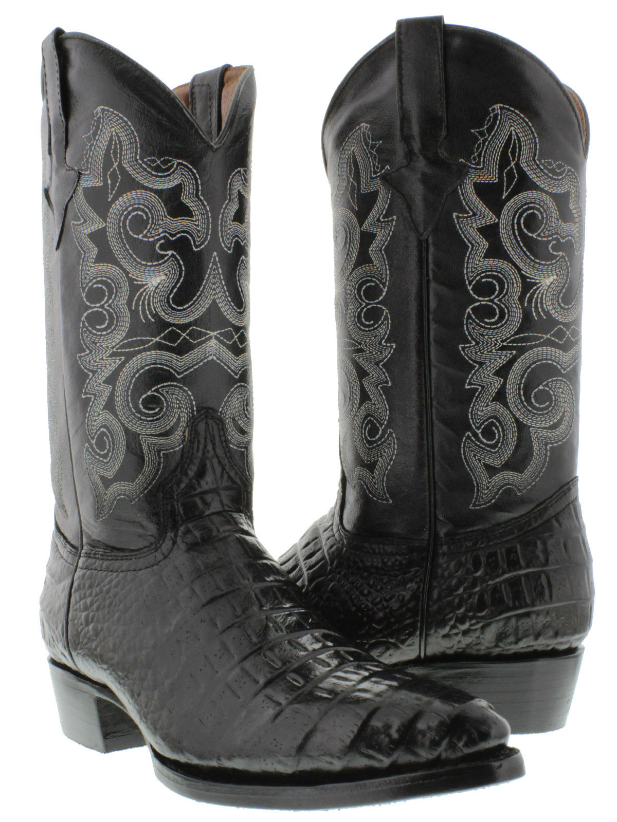 Mens Black Crocodile Belly Pattern Leather Casual Western Cowboy Boots J Toe