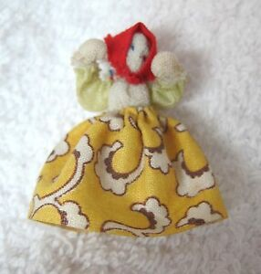 Vintage Handmade Tiny Fabric Doll In Yellow Dress 1 1/2 Inch SHP