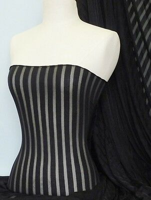 Black Stripe Burn Out Light Weight Poly Viscose Sheer Q1061 BK