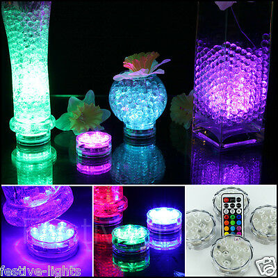LED BATTERY OPERATED SUBMERSIBLE VASE BASE LIGHT UP WITH 2 REMOTE CONTROLS x 4