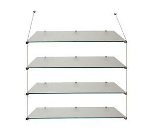 2 QTY Slatwall Toughened Glass Shelving Shelves 4 Sizes Display Retail Home