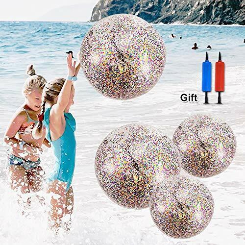 ATROPOS 4 Pieces Glitter Beach Balls,16 inch 24 inch Inflatable Sequin Beach