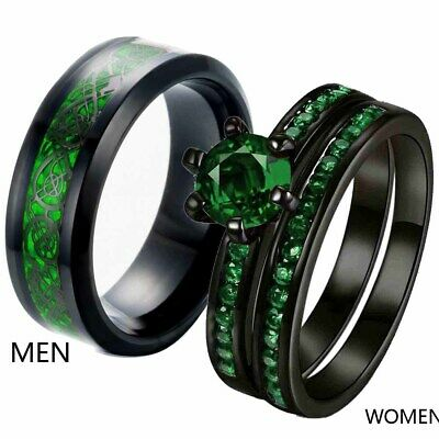 Couple Ring Black Plated Titanium Mens Wedding Bands Green Cz Womens Ring Sets Ebay