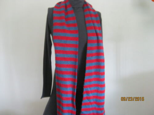 american apparel acrylic mohair scarf bright blue //red  stripes