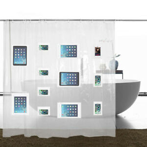 Premium-Shower-Curtain-Liner-with-12-Pockets-Clear-Bathroom-Phone-Holder-Mount