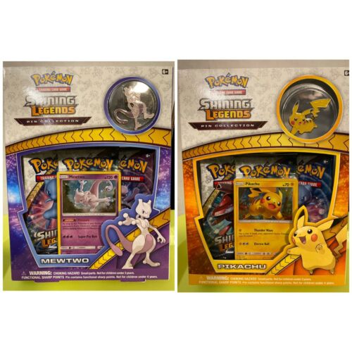 Pokemon Shining Legends Mewtwo /& Pikachu Pin Collection Bundle New Sealed!
