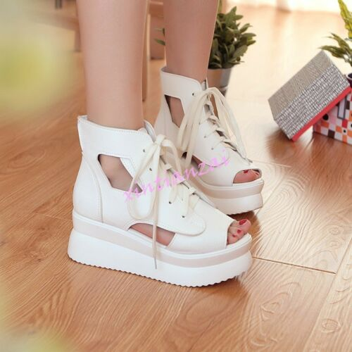 Womens Lace Up Flatform Sport Sandals Shoes High Top Wedge Heels Roman Casual