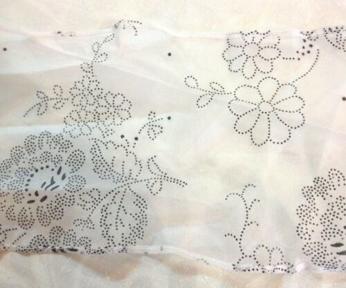 White Sheer with Black Floral Design Trim     5 1//2 inches wide       2 yards