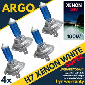 4 x H7 100W SPARE 24V SUPER WHITE MAIN BEAM BRIGHT BULB XENON HEAD LIGHT HALOGEN
