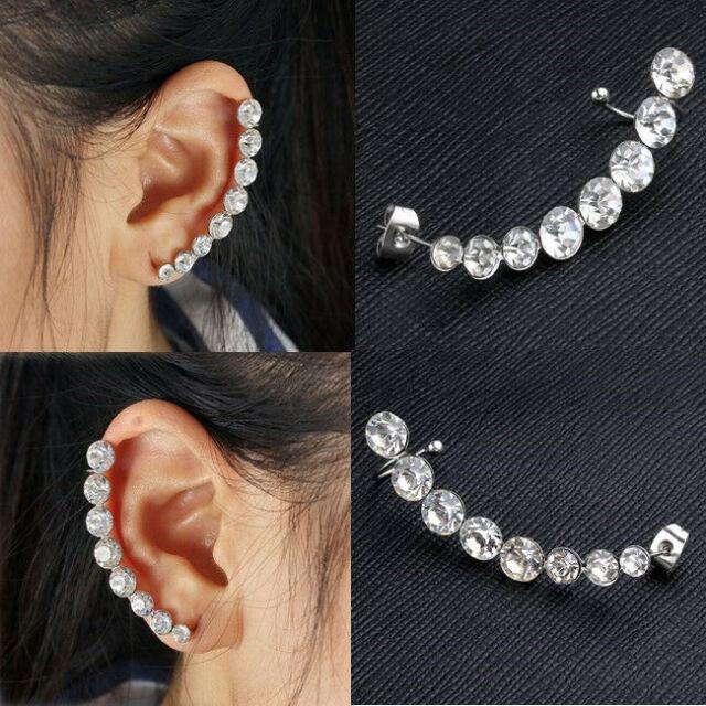 2X Women Silver Ear Cuff Crystal Rhinestone Wrap Cartilage Clip OnStudsEarringNF