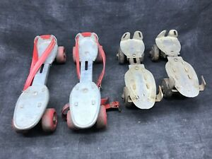 Lots-de-deux-paires-de-patin-a-roulettes-ancien-Roller-quad-jeu-jouet-ancien