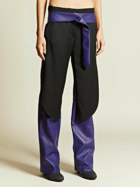 PEDRO LOURENCO  5046 purple leather AW12 runway pants Lourenço trousers 38 6 NEW