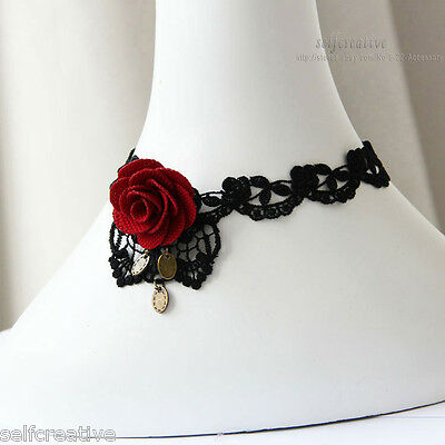 Womens Handmade Red Flower Rose Leaf Lace Chunky Choker Necklace Gothic Collar