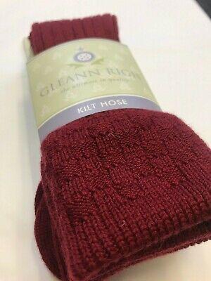 Mens Gleann Righ Highland Plain Black Blue Red Green Maroon Kilt Sock Flashes
