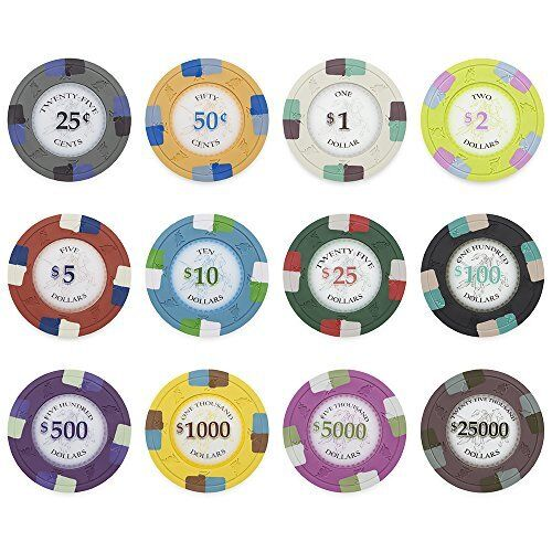 Poker Knights 13.5g Poker Chips $25,000 Clay Composite Heavy Weight 50-pack