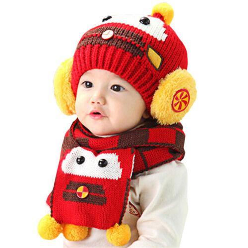 Details about  /Baby Girls Boy Winter Pilot Cap Balaclava Beanie Hat Hoody Scarf Knit Earflap